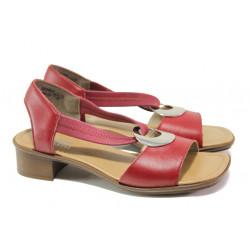 Дамски сандали от естествена кожа Rieker 62662-33 червен ANTISTRESS | Немски сандали на ток