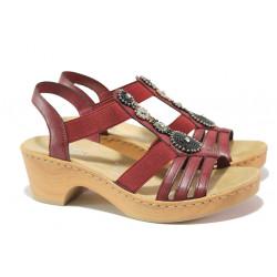 Комфортни дамски сандали Rieker V28S8-35 червен ANTISTRESS | Немски сандали на ток