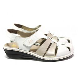 Дамски обувки от естествена кожа Rieker 47778-80 бял ANTISTRESS | Немски равни обувки