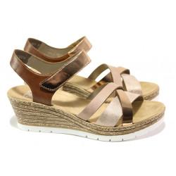 Комфортни дамски сандали Rieker 61900-90 розов металик | Немски сандали на платформа