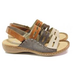 Дамски сандали от естествена кожа Rieker 60815-60 кафяв ANTISTRESS | Немски равни сандали