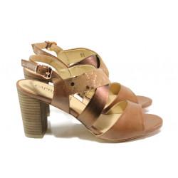 Дамски сандали от естествена кожа Caprice 9-28312-22G кафяв | Немски сандали на ток