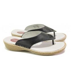 Дамски чехли от естествена кожа Jana 8-27113-22H черен RELAX | Немски чехли и сандали