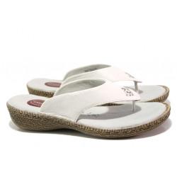 Дамски чехли от естествена кожа Jana 8-27113-22H бял RELAX | Немски чехли и сандали