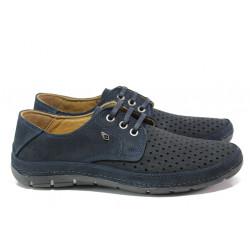 Анатомични мъжки обувки от естествена кожа МИ 80 син | Мъжки ежедневни обувки