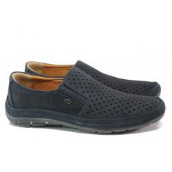 Анатомични мъжки обувки от естествена кожа МИ 87 син | Мъжки ежедневни обувки