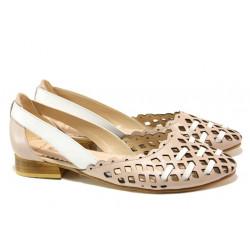Комфортни дамски обувки от естествена кожа МИ 112-24 розов | Равни дамски обувки