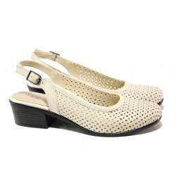 Комфортни дамски обувки от естествена кожа МИ 238-36 бежов | Дамски обувки на среден ток