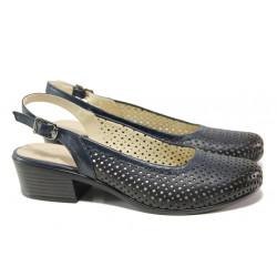 Комфортни дамски обувки от естествена кожа МИ 238-14 т.син | Дамски обувки на среден ток