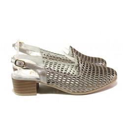 Комфортни дамски обувки от естествена кожа МИ 850-12  сив | Дамски обувки на среден ток