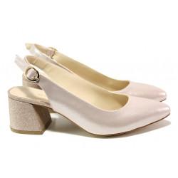 Елегантни дамски обувки на комфортно ходило МИ 798-5 розов | Дамски обувки на среден ток