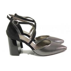 Елегантни дамски обувки с модерна визия МИ 548-6 графит | Дамски обувки на висок ток