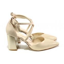 Елегантни дамски обувки с модерна визия МИ 548-1 бежов | Дамски обувки на висок ток