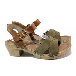Дамски сандали от естествен набук Remonte D6955-54 зелен | Немски сандали на ток
