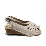 Ортопедични дамски сандали от естествена кожа Rieker 66174-80 бял ANTISTRESS   Немски сандали на платформа