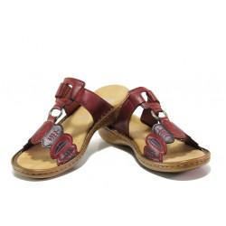 Комфортни дамски чехли с велкро лепенка Rieker 608R4-35 червен ANTISTRESS | Немски чехли и сандали