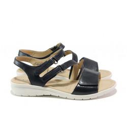 Дамски сандали от естествена кожа Caprice 9-28153-22 т.син | Немски равни сандали