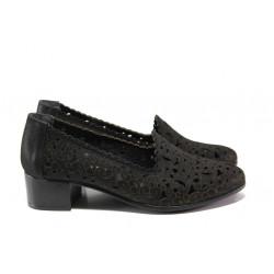 Анатомични дамски обувки от естествена кожа МИ 770-10 черен | Дамски обувки на среден ток