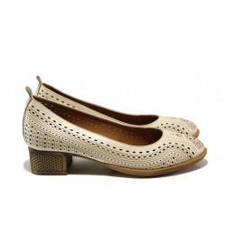 Комфортни дамски обувки от естествена кожа МИ 106-30 бежов | Дамски обувки на среден ток