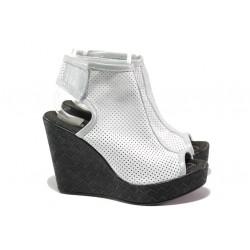 Анатомични летни боти от естествена кожа НЛ 265-96134 бял | Дамски сандали на платформа