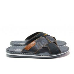 Мъжки чехли от естествена кожа Rieker 21098-14 син ANTISTRESS | Немски мъжки обувки