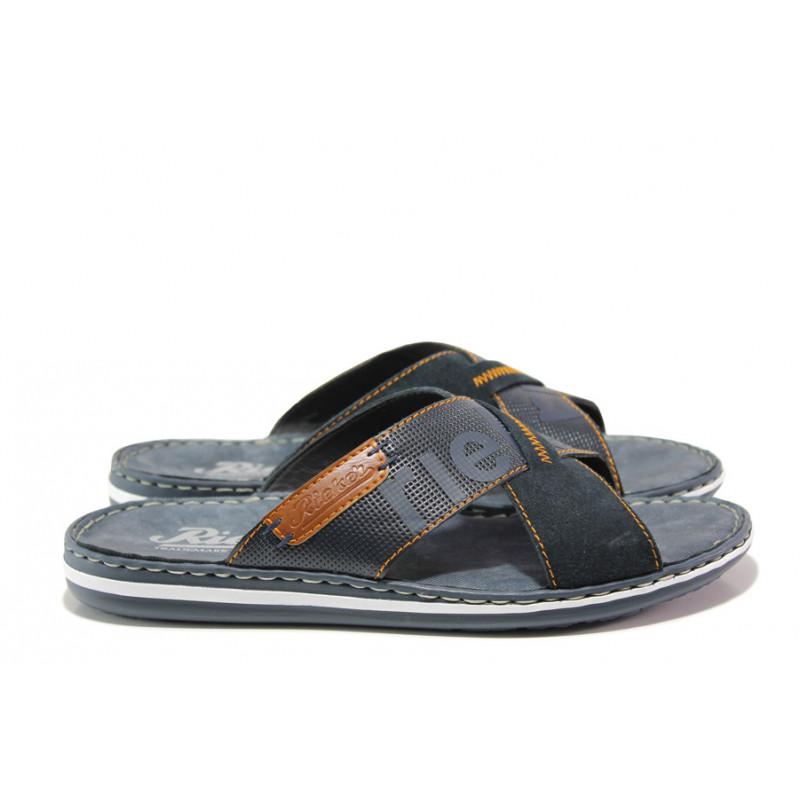 c1ed4f28441 Мъжки чехли от естествена кожа Rieker 21098-14 син ANTISTRESS | Немски мъжки  обувки