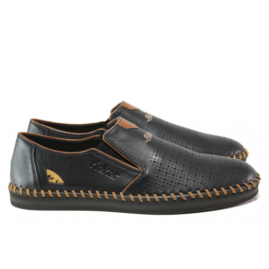 Мъжки обувки от естествена кожа с перфорация Rieker B2987-00 черен ANTISTRESS | Мъжки немски обувки