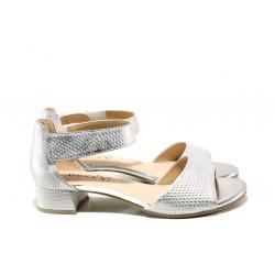 Дамски сандали от естествена кожа Caprice 9-28212-22 сребро | Немски сандали на ток