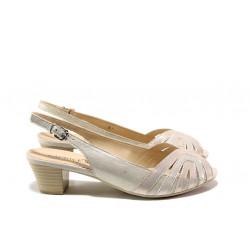 Дамски сандали от естествена кожа Caprice 9-28206-22H розов металик | Немски сандали на ток