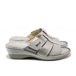 Анатомични български чехли от естествена кожа Jolie 4606-51 сив | Дамски чехли