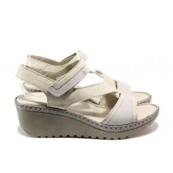 Анатомични български сандали от естествена кожа Jolie 4566-17 бежов   Дамски сандали на платформа