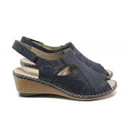 Ортопедични дамски сандали от естествена кожа Rieker 66150-14 син ANTISTRESS | Немски сандали на платформа