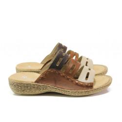 Дамски чехли от естествена кожа Rieker 65835-60 кафяв ANTISTRESS | Немски чехли и сандали