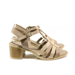 Дамски сандали от естествена кожа МИ 9258-28 бежов   Дамски сандали на ток