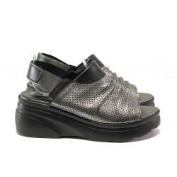 Дамски сандали от естествена кожа МИ 416-58-01 сребро | Дамски сандали на платформа