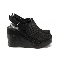 Дамски сандали /тип сабо/ от естествена кожа МИ 310-254 черен   Дамски сандали на платформа