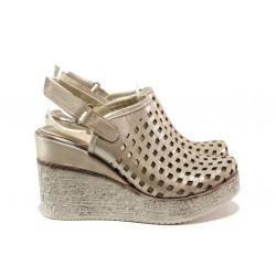 Дамски сандали /тип сабо/ от естествена кожа МИ 310-254 бежов | Дамски сандали на платформа