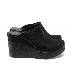Дамски чехли /тип сабо/ от естествена кожа МИ 473-254 черен | Дамски чехли и сандали