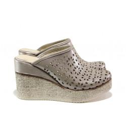 Дамски чехли /тип сабо/ от естествена кожа МИ 473-254 бежов | Дамски чехли и сандали