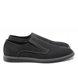 Анатомични обувки от естествен набук ЛД 383 черен | Мъжки ежедневни обувки