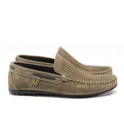 Анатомични мъжки мокасини от естествен набук МИ 506 таупе | Мъжки ежедневни обувки