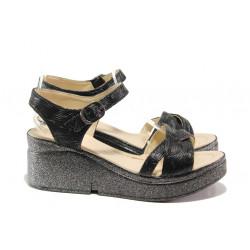 Модерни дамски сандали МИ 102-268-126 черен | Дамски сандали на платформа