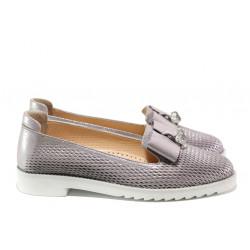 Анатомични дамски обувки от естествена кожа МИ 1017-22 сребро | Равни дамски обувки