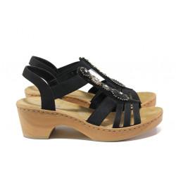 Комфортни дамски сандали Rieker V28S8-00 черен ANTISTRESS | Немски сандали на ток
