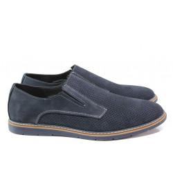 Анатомични мъжки обувки от естествен набук ЛД 383 син | Мъжки ежедневни обувки