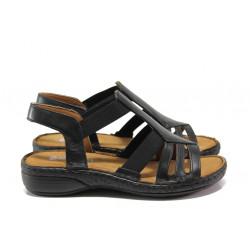 Дамски ортопедични сандали от естествена кожа SOFTMODE 28116 черен | Равни дамски сандали