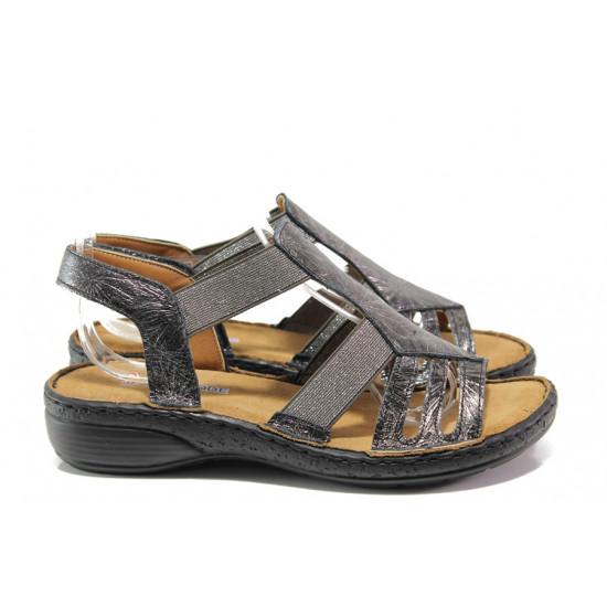 192f9e2d962 Дамски ортопедични сандали от естествена кожа SOFTMODE 26116 черен   Равни  дамски сандали