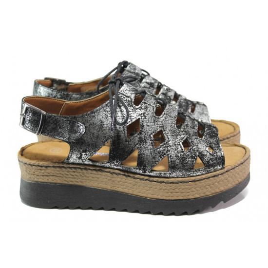 684c68e164f Дамски ортопедични сандали от естествена кожа SOFTMODE ATHENA черен-сребро  | Дамски сандали на платформа