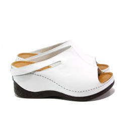 Анатомични дамски чехли /тип сабо/ от естествена кожа МИ 129-2 бял | Дамски чехли на платформа