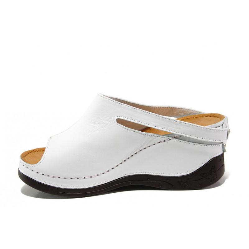 d4bfd296253 Анатомични дамски чехли /тип сабо/ от естествена кожа МИ 129-2 бял | Дамски  чехли на платформа
